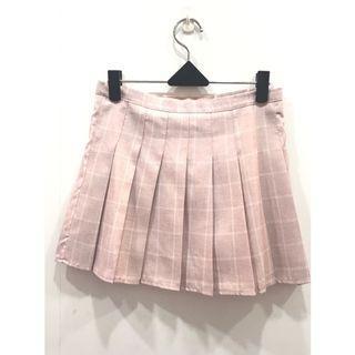 🚚 (全新)粉紅格子百褶裙 #半價衣服拍賣會