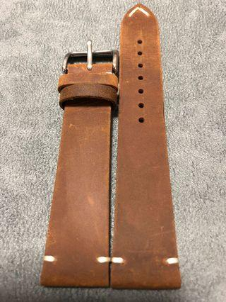 20mm Vintage Distressed Brown Leather Watch Straps