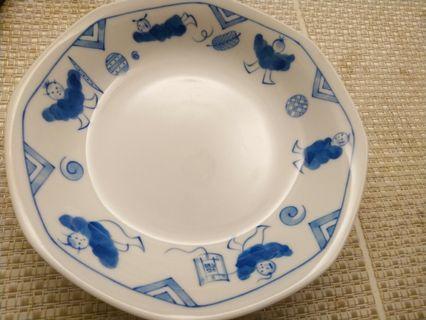 6吋白底藍色圖紋瓷盤