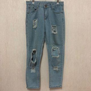 全新淺藍刷破褲