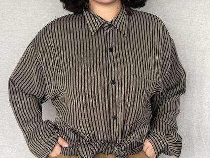 🚚 古著直紋襯衫(材質薄)