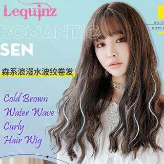 Water Wave Curls Korean Air Bang Hair Wig Cold Brown