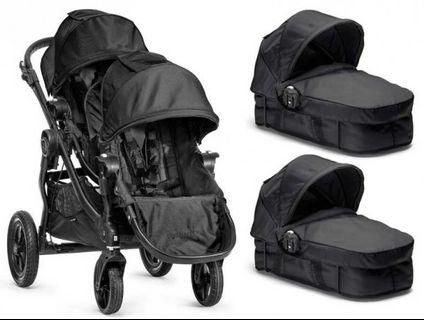 City Select Double Stroller with Bassinet