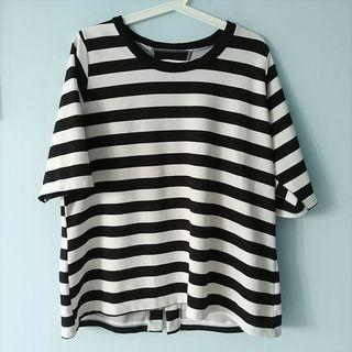 Black White Stripes 3/4 Sleeves Blouse Top Plus Size UK14 UK16 UK18