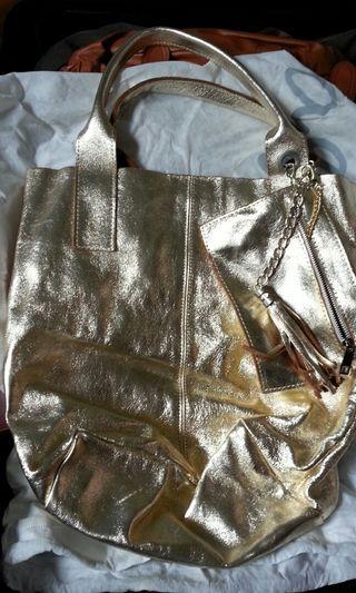 Golden bag 金色真皮手袋