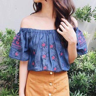 Embroidered Off-shoulder Top