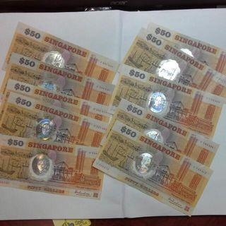 Offer:: 10 Singapore $50 1990 Commemorative Polymer Notes