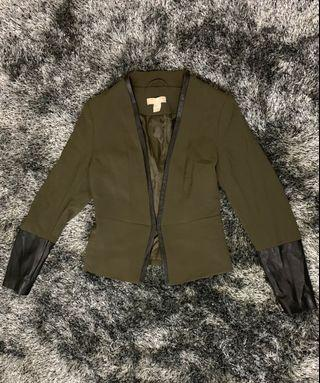 H & M Army Green Blazer with leather linings/design, Fits XS-S body frames, used twice only