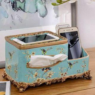 Porcelain Tissue Box & Remote Holder - Birds in Teal