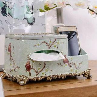 Porcelain Tissue Box & Remote Holder - Birds in Jade