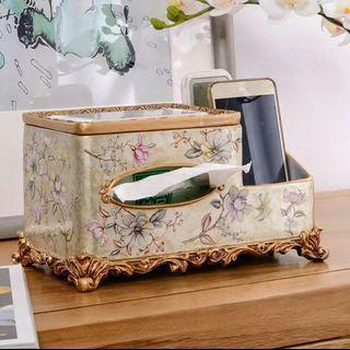 Porcelain Tissue Box & Remote Holder Birds & Champagne