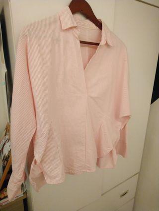Vieso 粉色直條紋棉麻襯衫