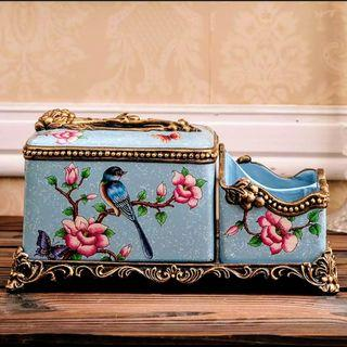 Porcelain Tissue Box & Remote Holder - Bluebird