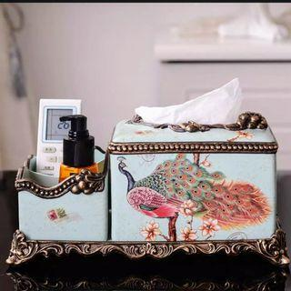 Porcelain Tissue Box & Remote Holder Peacock in Tiffany