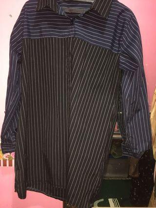 Kemeja atasan stripes black navy