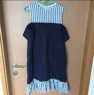 ⚡️Reduced Price⚡️ Faire Belle Ayla Stripey Dropwaist Dress - Navy size M