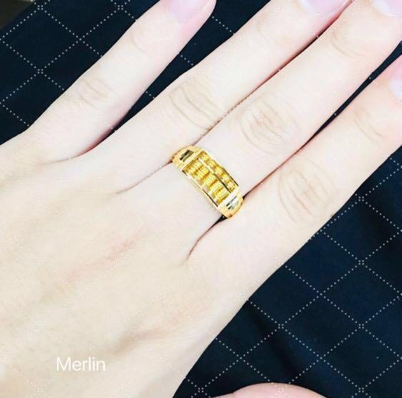 916 Gold Abacus Ring 【4gm+】 916 黄金算盘戒指 (4gm +/-)Your Body Movement will shake the Abacus automatically to ring in more sales . It increases your business and wealth luck !