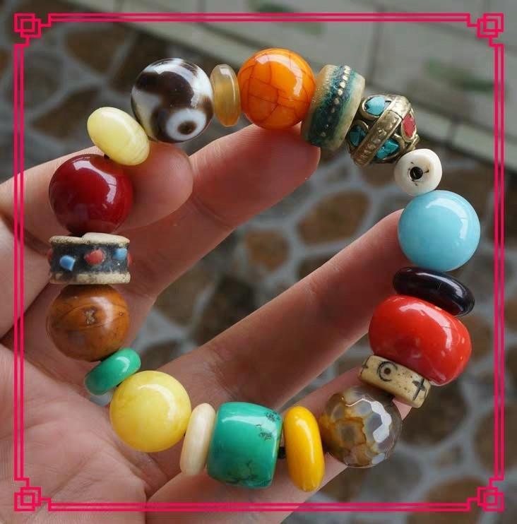 西藏天然老礦瑪瑙玉髓 開光真品開光三眼财神天珠招财q手串