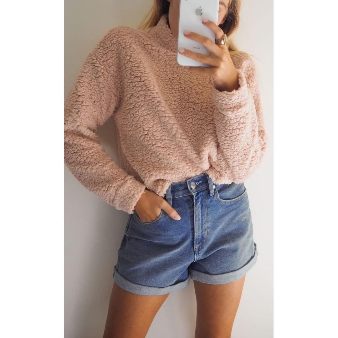 AFTERPAY AVAILABLE - PINK TEDDY TURTLE NECK - SIZES XS - L