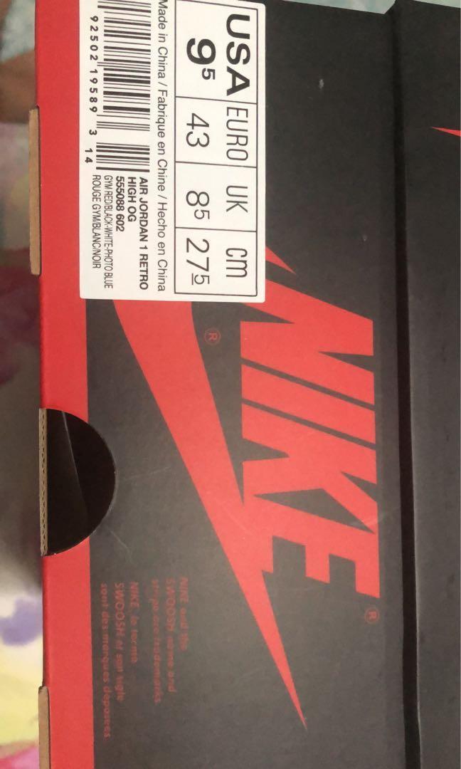 Air Jordan 1 Origin Story US9.5 New