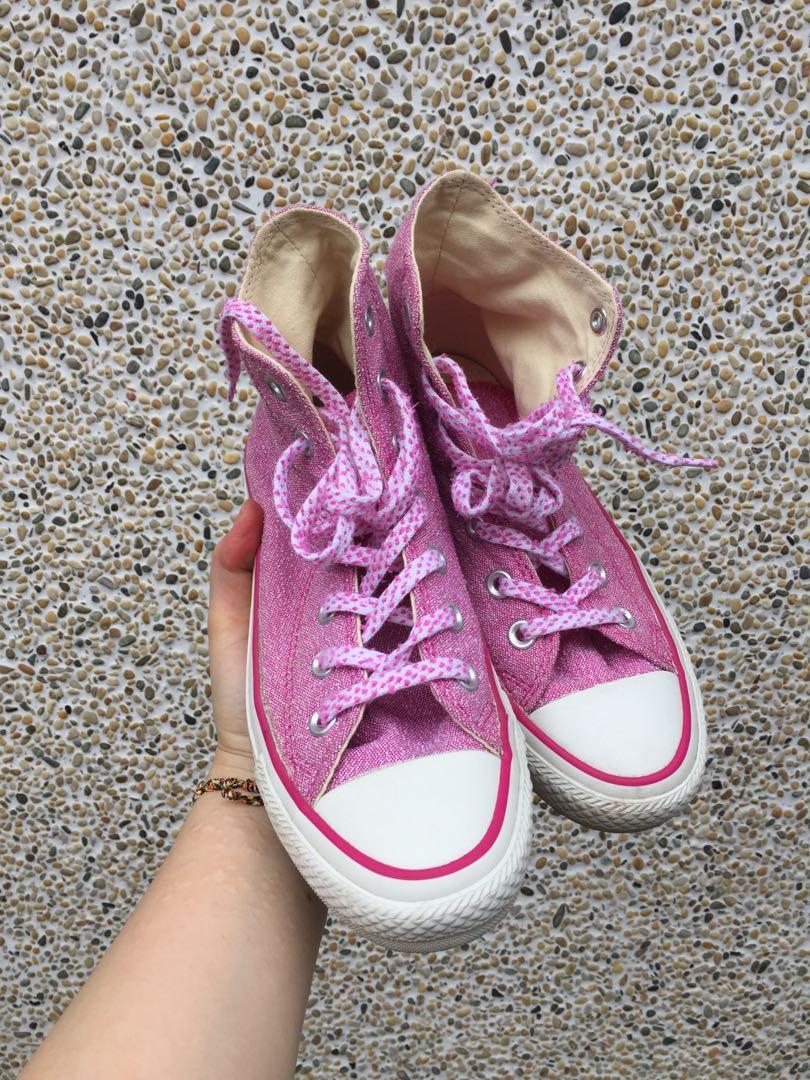 All star粉紅色帆布鞋