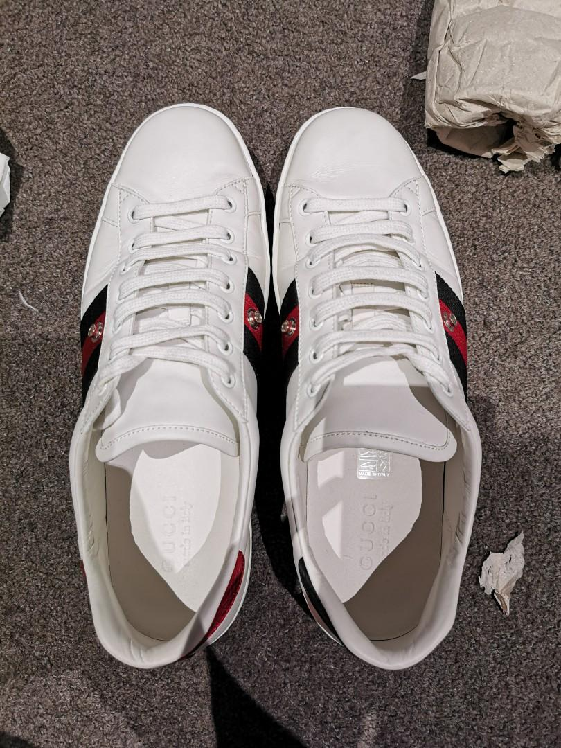 Authentic Gucci Ace Patch Removable Sneakers, size 10