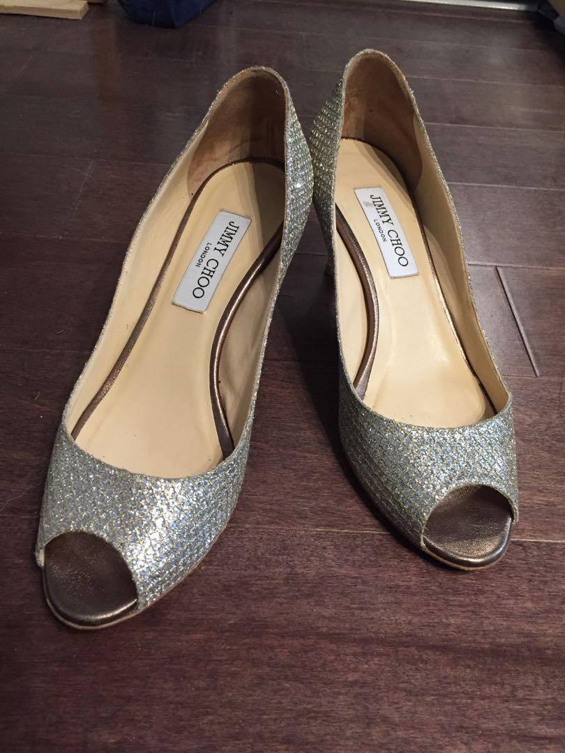 Authentic Jimmy Choo Isabel Peep Toe Shoes - Size 38