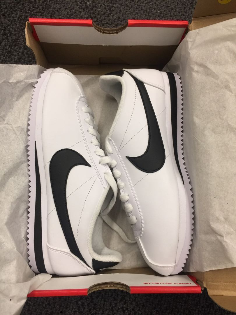 pretty nice bf108 bca48 Authentic Nike Classic Cortez Leather Sneakers (Sports) - Size US 7 / EU 38  - Black & White (Brand New)