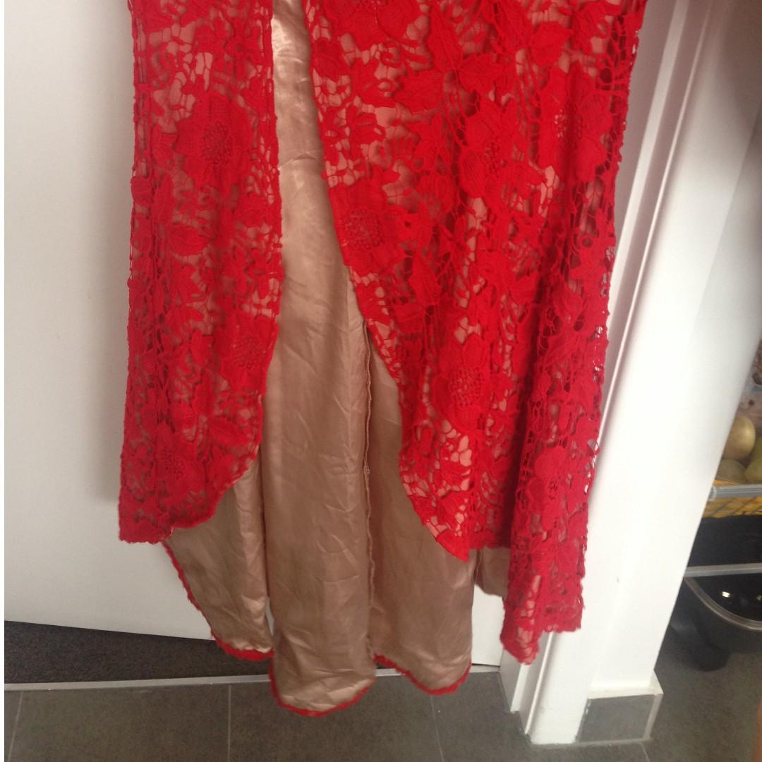 Bariano Red Lace Full Length Gown / dress with slit