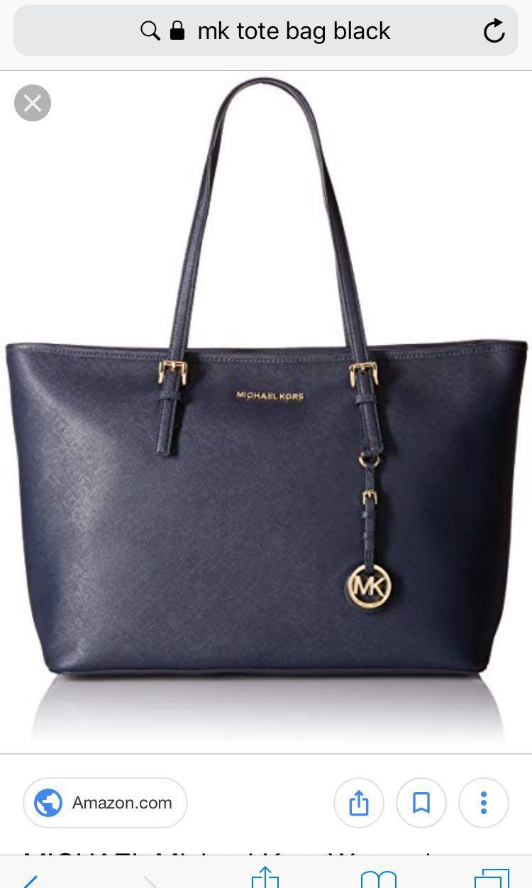 Black Micheal Kors Jet Set Travel Tote (Medium)