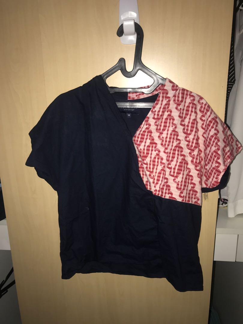 Cotton ink half batik shirt