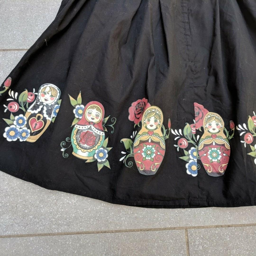 DANGERFIELD Black Matryoshka Print Full Skirt 6 AU BNWOT