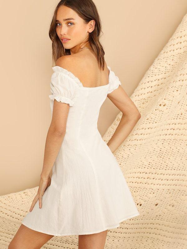 Free Mailing - White Off Shoulder Button Down Dress