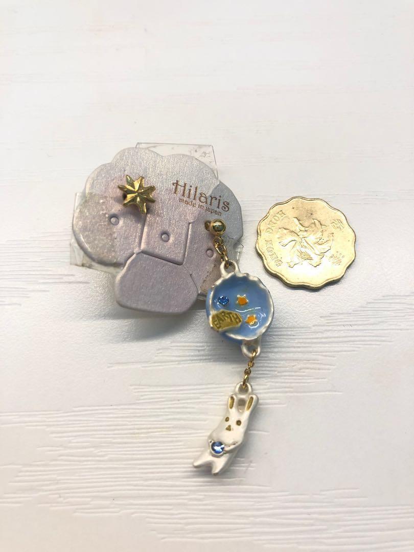 Hilaris 星球兔耳環/ rabbit earth earrings
