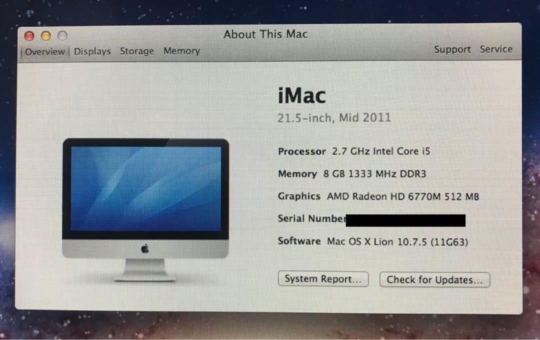 iMac 21.5 inch, Mid 2011