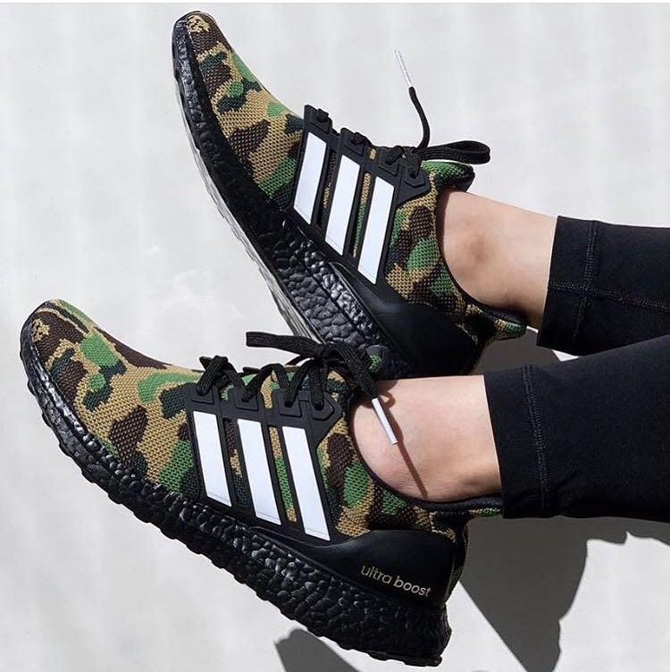 Reserved) US 10 Adidas x Bape Ultraboost Camo Green, Men's
