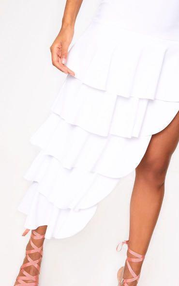 Layered tier white maxi skirt