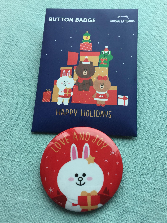 Line Friends X'mas button badge 聖誕限定版襟章(Cony款)