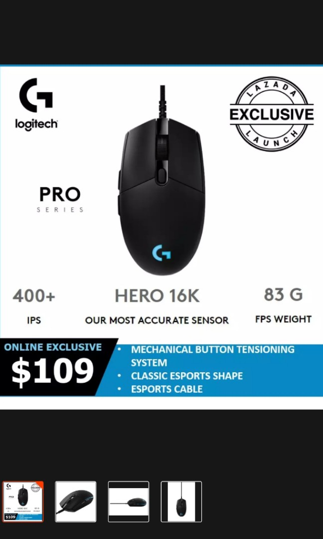 Logitech G Pro hero 16K wired gaming mouse