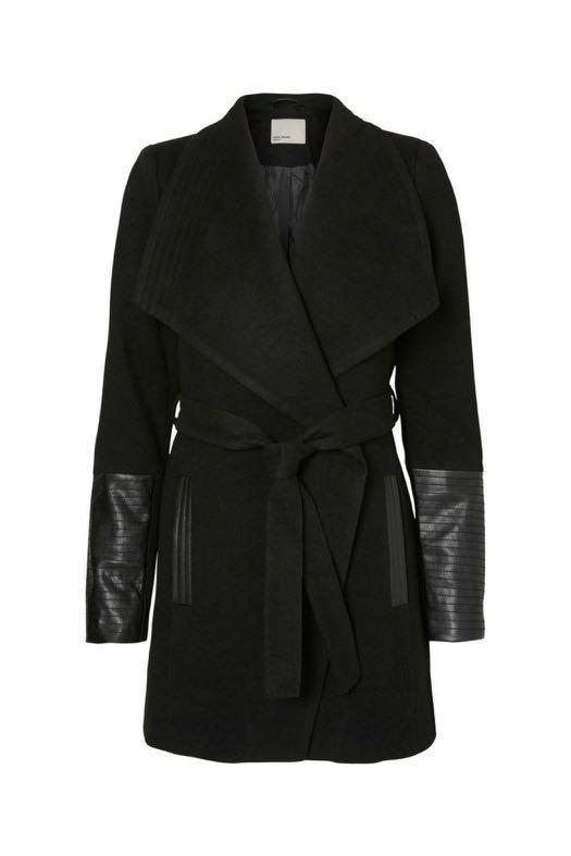 M Boutique - Black Wrap Coat/Jacket with Faux Leather Ribbed Sleeves size XS