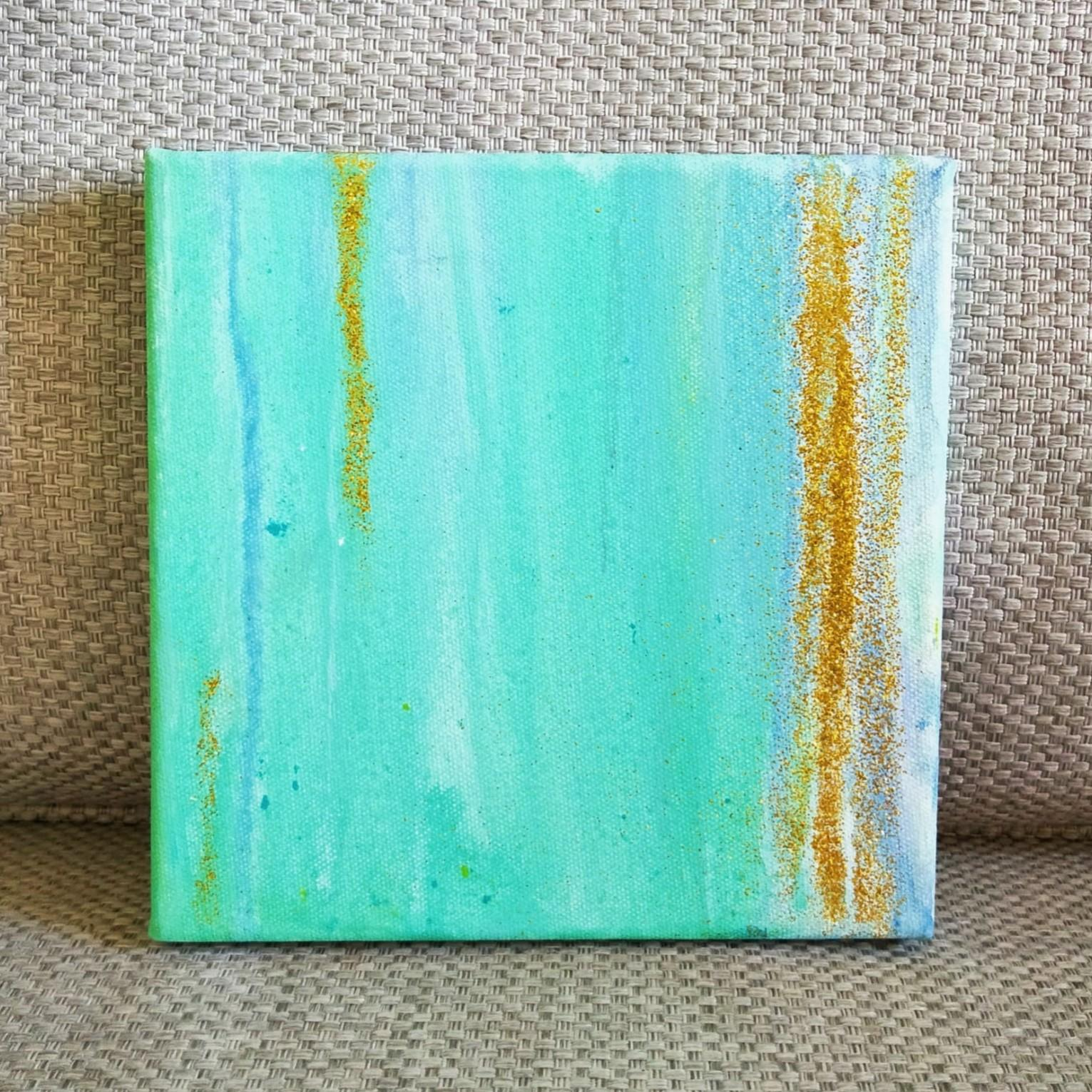 Mint green & gold abstract painting 8x8 inches modern minimalist  original