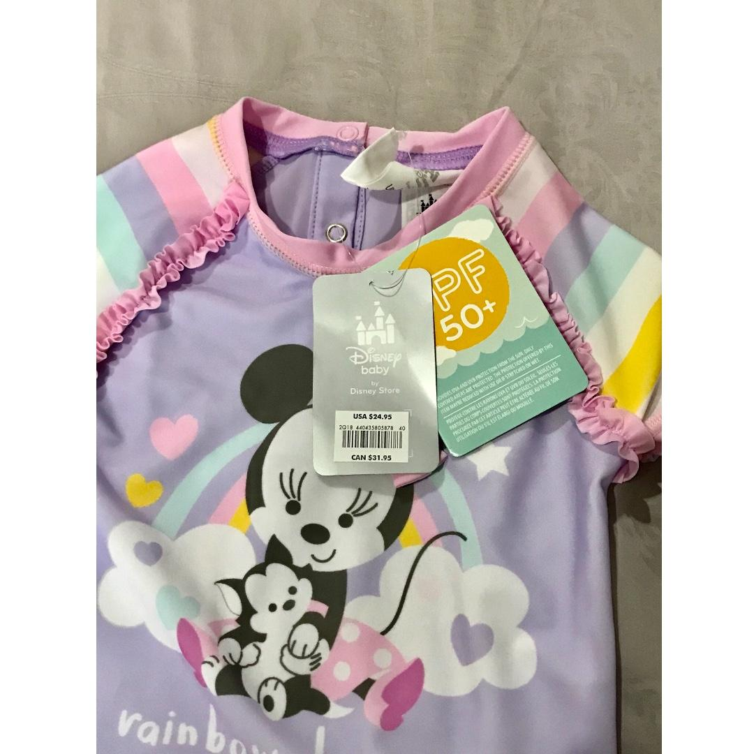 New Disney Store Baby Minnie Pink Purple Swimsuit UPF 50 size 12-18M