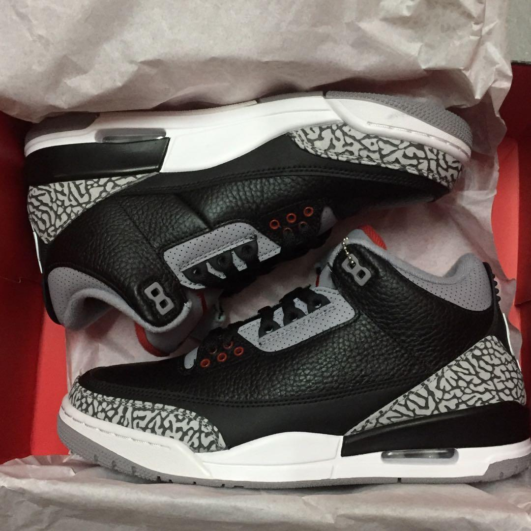 Nike Air Jordan 3 III Retro 黑水泥 Black Cement 2018ver (Nike Air 尾) us 8.5