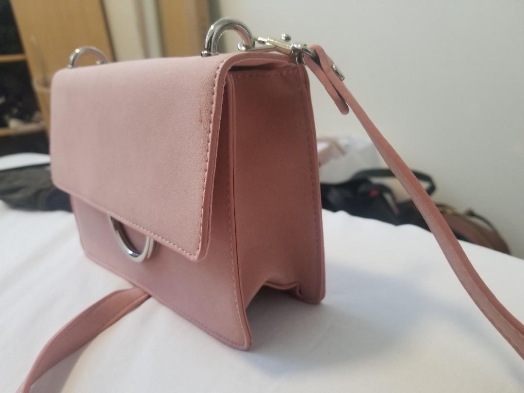 Pink suede shoulder bag