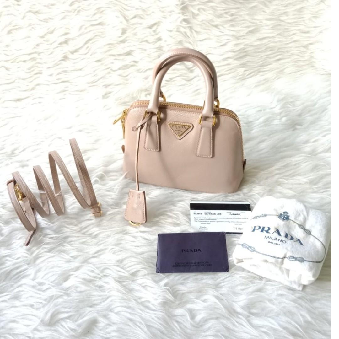 8c050d6e Prada Nude Saffiano Lux Leather Mini Promenade Bag, Women's Fashion ...