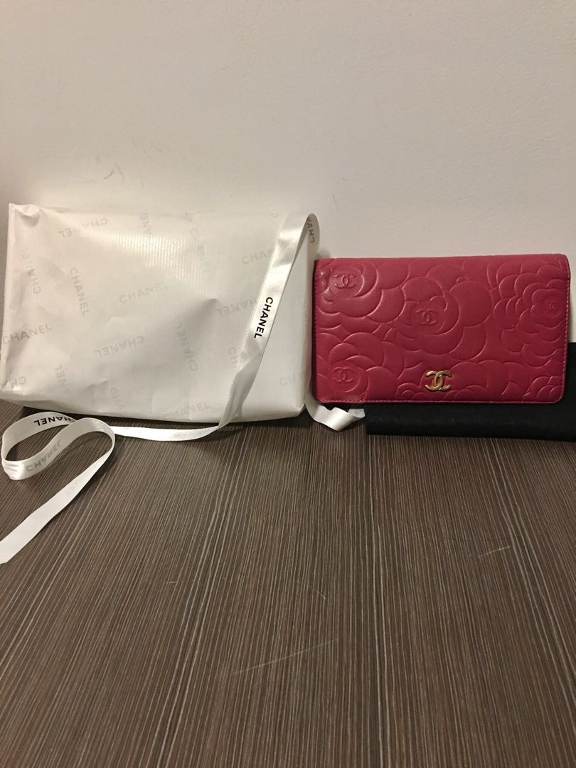 54870a7536936b Pre loved Chanel camellia wallet (with authenticity card and receipt ...