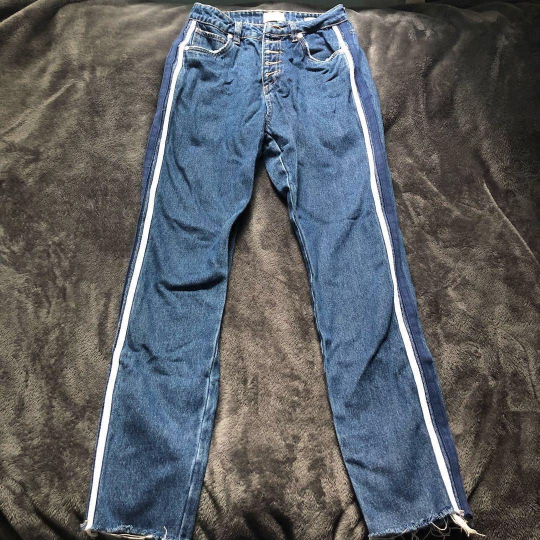 *REDUCED* MID BLUE DENIM STRIPE CUT OFF BUTTON UP HIGH WAIST STRAIGHT JEANS SIZE 8