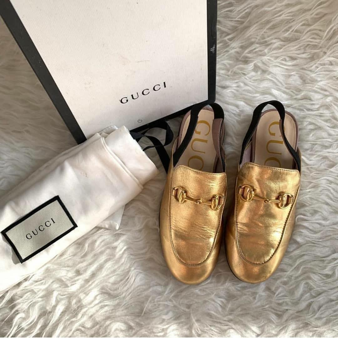 *REPRICE* 🔥VGC Gucci Kids Mules Slipper Gold GHW Size30 Insole 19cm complete no receipt ⚡