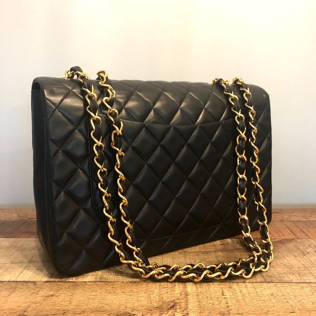 7a556892ebf3 RESERVED Authentic Chanel Maxi Jumbo Classic w 24k Gold Hardware ...