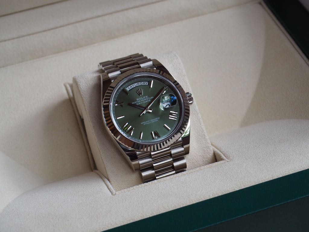 Rolex 228239 Day Date 40 White Gold Green Dial Men S Fashion